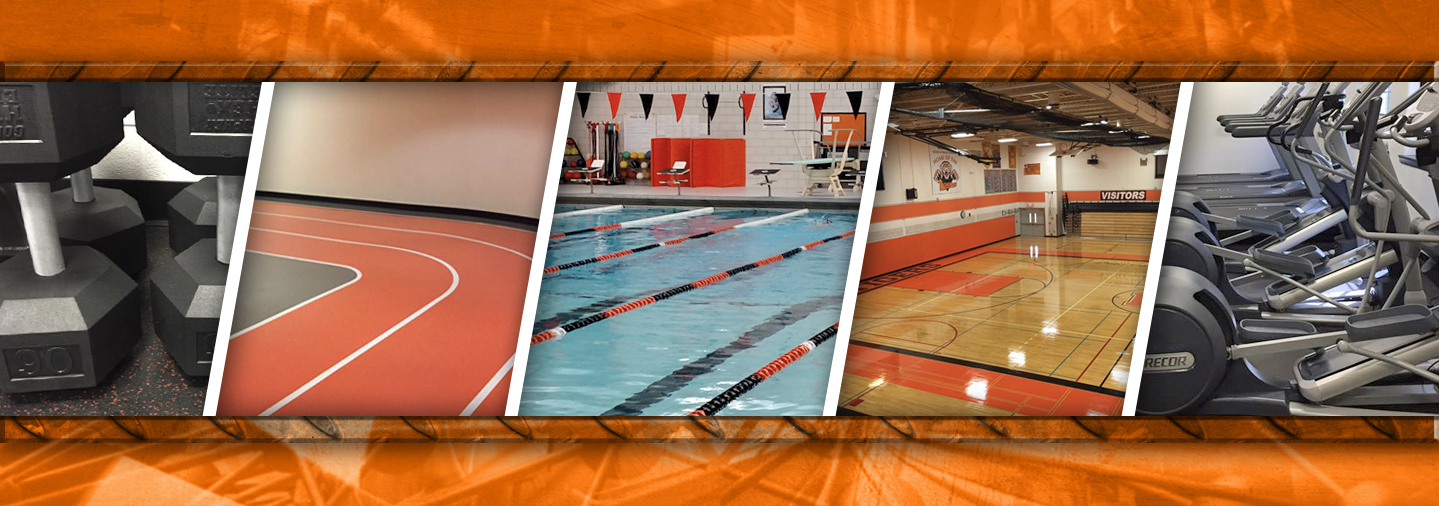 Collage of photos from the Rec center with swim, weights, gym, track and cardio machines