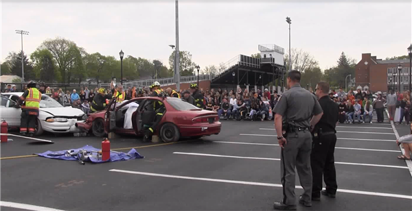Pictured is the Mock DWI scene in the Mexico High School parking lot.