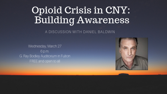 Daniel Baldwin will present about the opioid epidemic and its impact on Central New York.