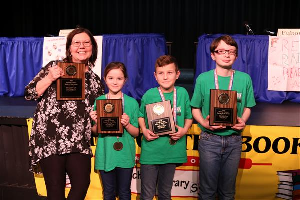 A trio from Mexico Elementary won the grade 3 and 4 Battle of the Books countywide competition.
