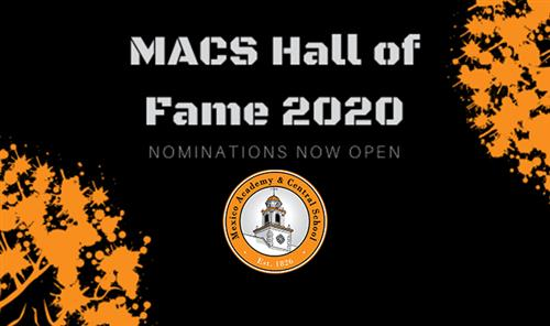 Graphic calling upon nominations for the 2020 MACS Hall of Fame