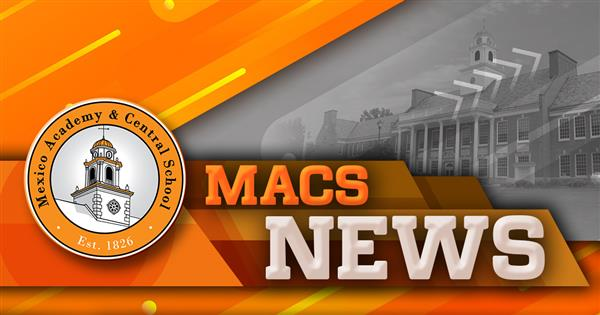 Graphic that reads 'MACS News' with Mexico HS in the background