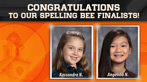 Pictured are Kassondra and Angelina who earned spots in the regional spelling bee finals