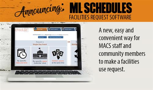 Graphic announcing launch of MACS facilities request system