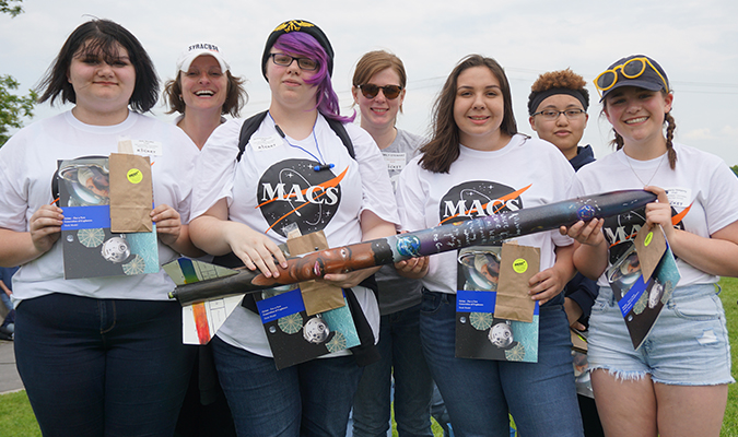 Pictured is the Mexico HS rocket club with their rocket