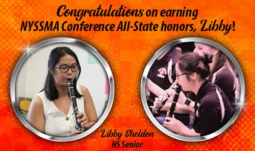 Graphic honoring senior Libby Sheldon's accomplishment of making NYSSMA All-State