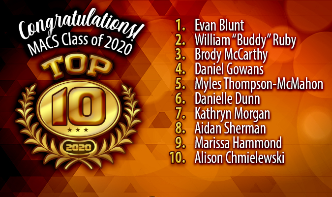 Pictured is a graphic featuring the top 10 students in the MACS Class of 2020.