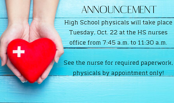 A graphic outlining the fact that HS physicals will take place the morning of Oct. 22.