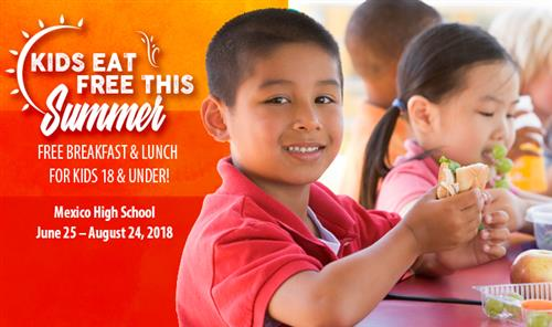 Kids eat FREE This Summer graphic with child eating a school lunch