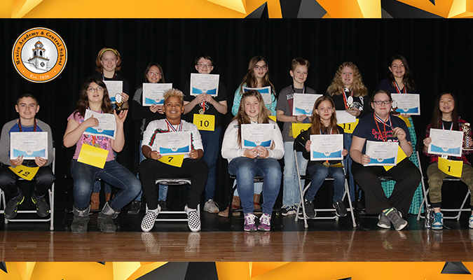 Pictured are the 14 participants in the Mexico MS spelling bee